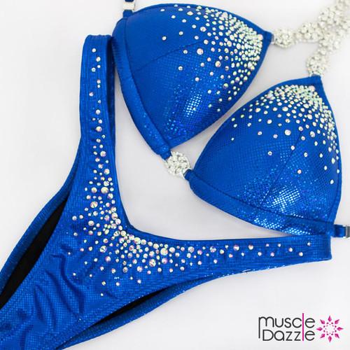Affordable blue figure competition suit