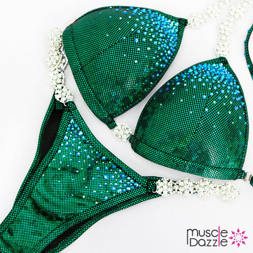 Affordable green competition bikini