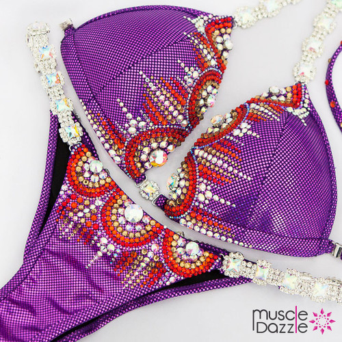Purple competition bikini suit