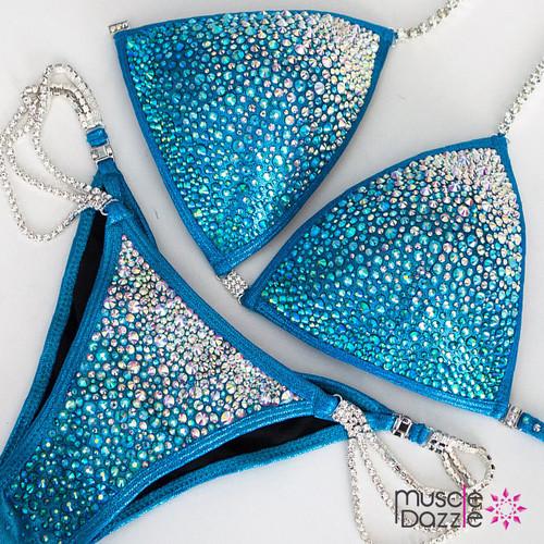 Swarovski Aqua Blue Ombre Competition Bikini