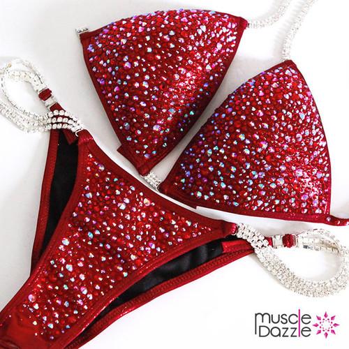 Burgundy Swarovski Competition Bikini