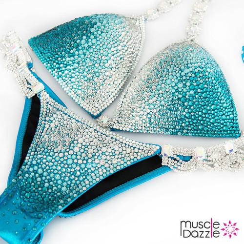 Teal Ombre Swarovski Competition Bikini