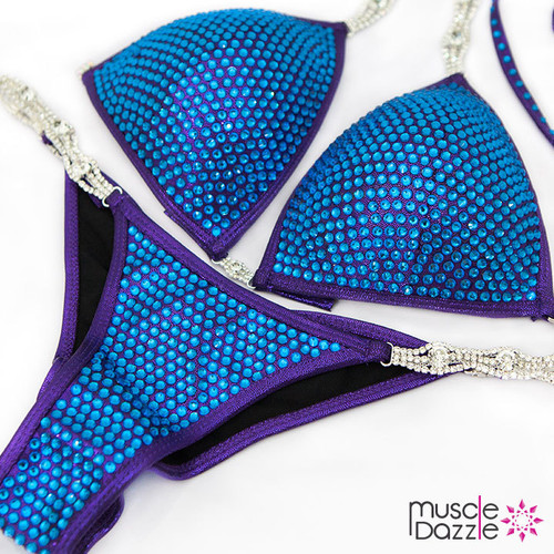 Blue Swarovski Crystal Bikini Competition Suit