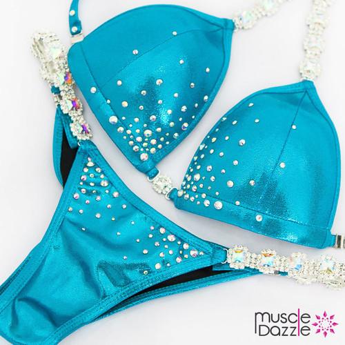 Aqua Blue Swarovski Crystal Competition Bikini