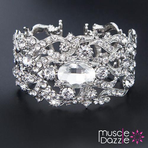 Ornate Silver Bracelet | Bikini Fitness Competition Jewelry