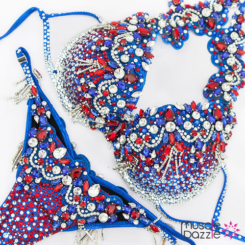 red white blue bikini diva competition suit