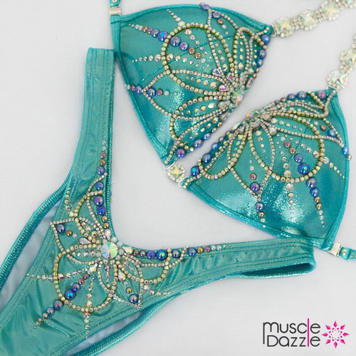 Ready Made Turquoise Figure Competition Suit (FS486RM)