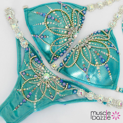 Ready Made Turquoise Bikini Competition Suit (CB608RM)