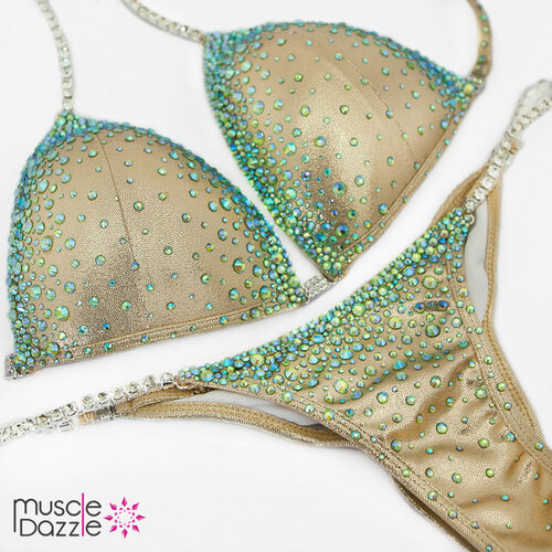 Ready Made Green and gold competition bikini (CB369RM)