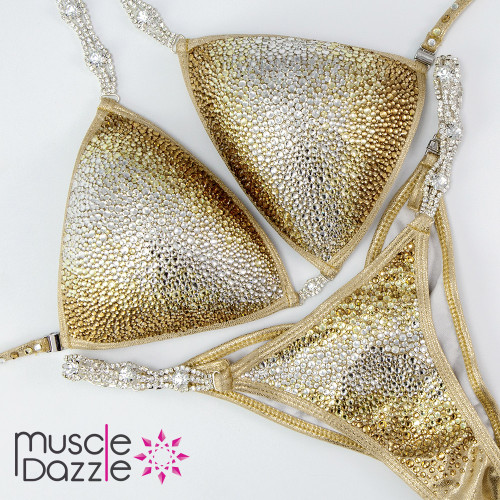 Ready Made Silver and gold competition bikini (CB347RM)