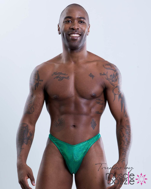Green Hologram Bodybuilding Posing Trunks