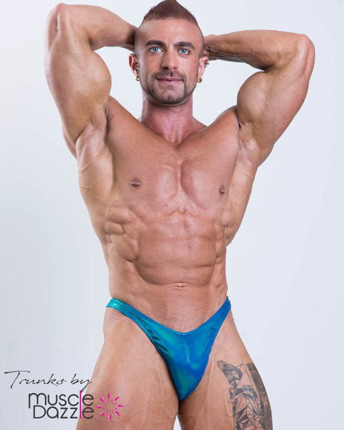 Blue Green Bodybuilding Posing Trunks