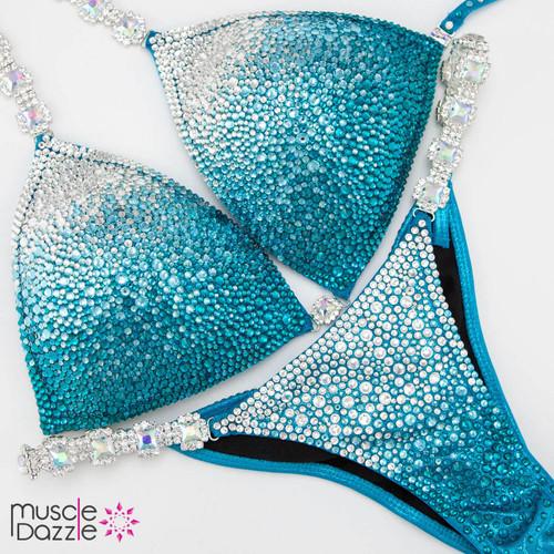 Aqua + Silver Competition Bikini