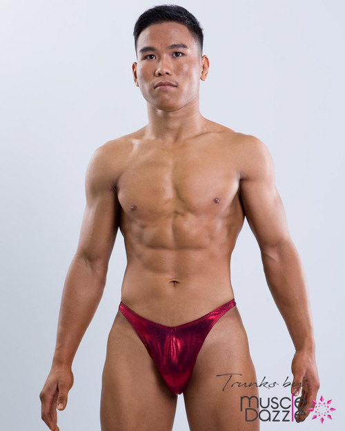 Burgundy Red Bodybuilding Posing Trunks