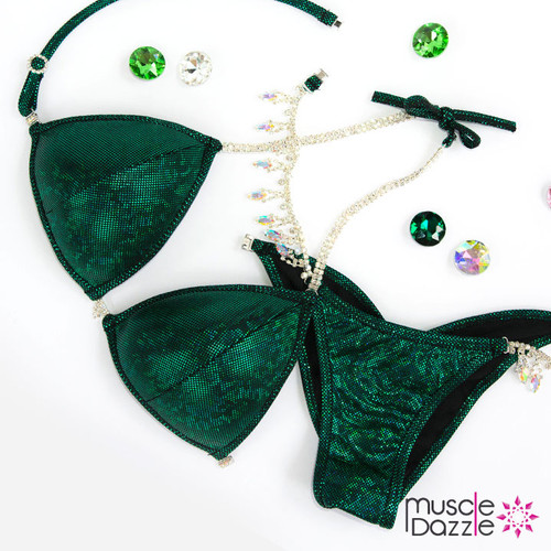 Dark green competition bikini