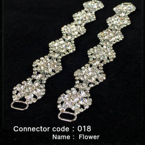 Set of 2 x Rhinestone Bikini Connectors - Flower Style (018)