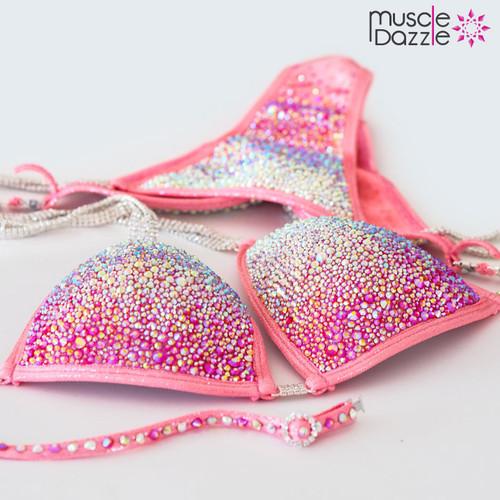 Peach crystal competition bikini