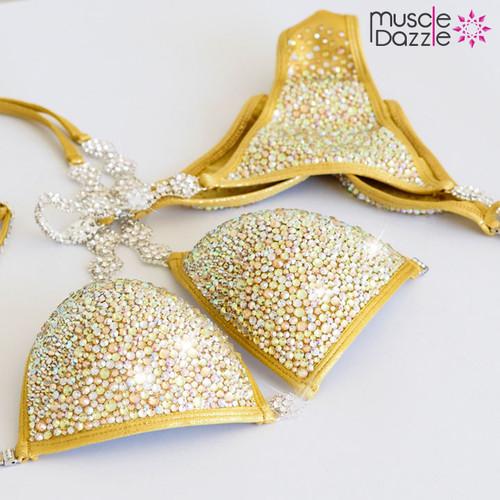 Gold crystal competition bikini