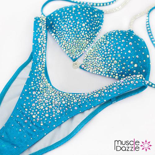Aqua Blue Figure Competition Suit