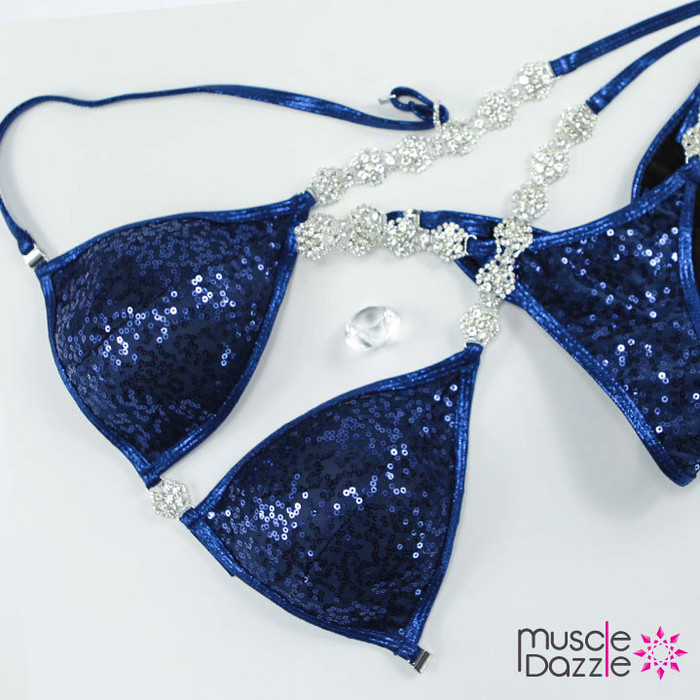 Dark blue sequins Competition Bikini