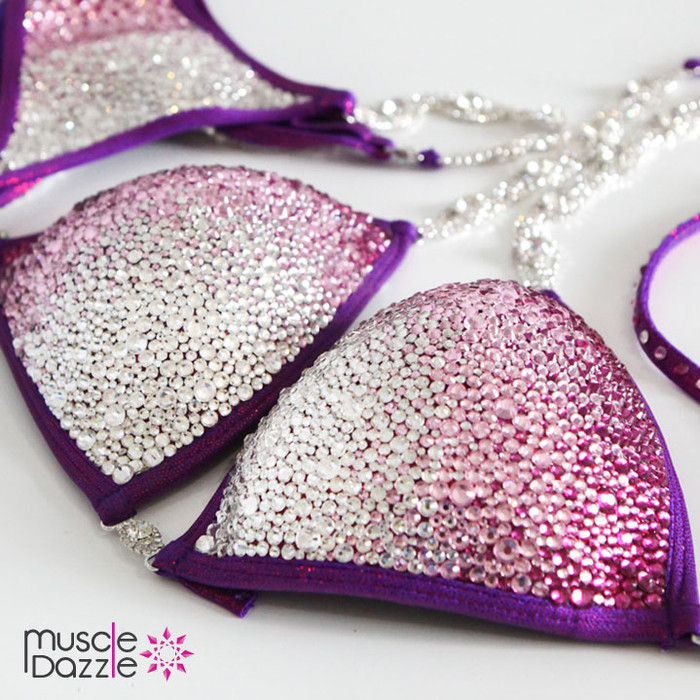 Pink Ombre Crystal Competition Bikini