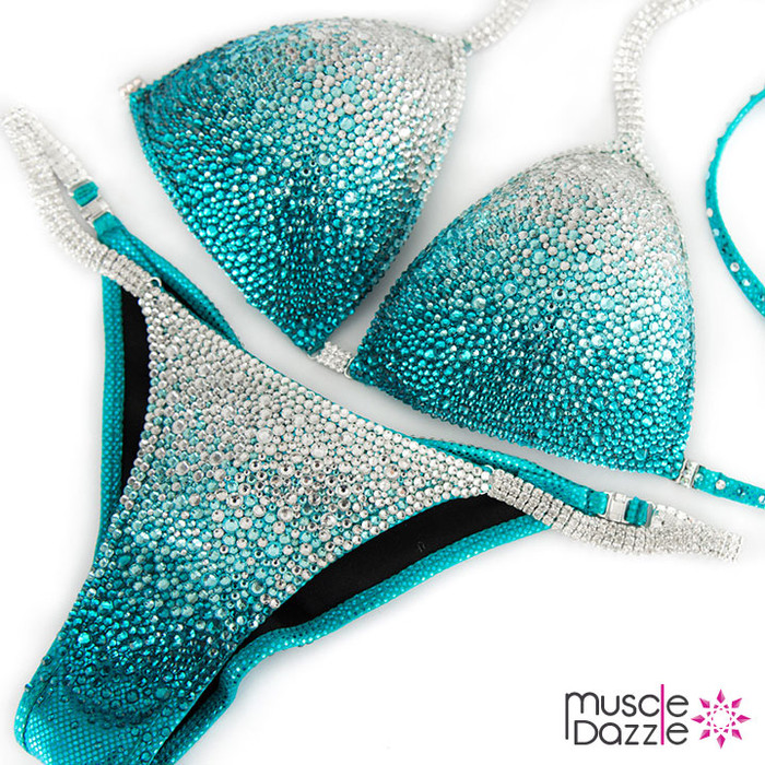 Turquoise  Ombre Crystal Competition Bikini