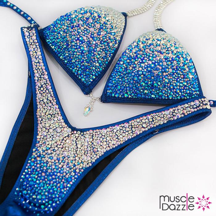 Blue Ombre Figure Competition Suit