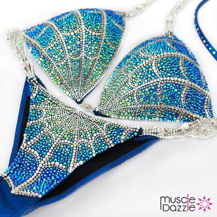 Blue Spiderman Crystal Competition Bikini