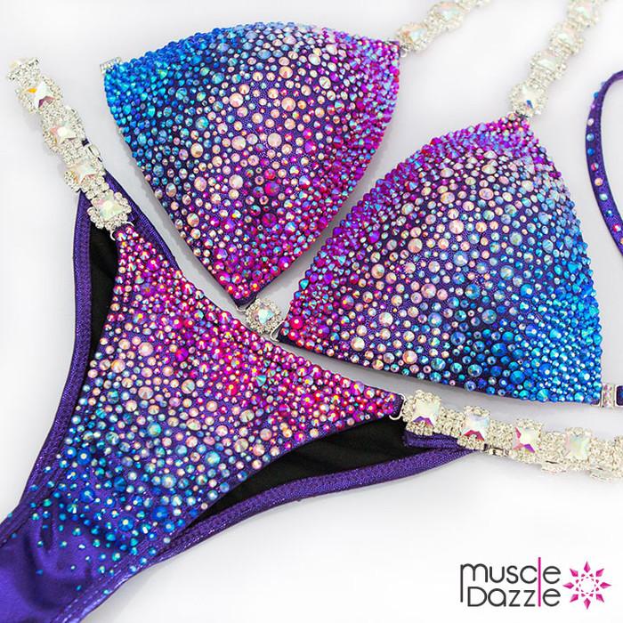 Purple Blue Fitness Competition Bikini