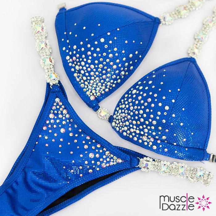 Affordable blue bikini competition suit