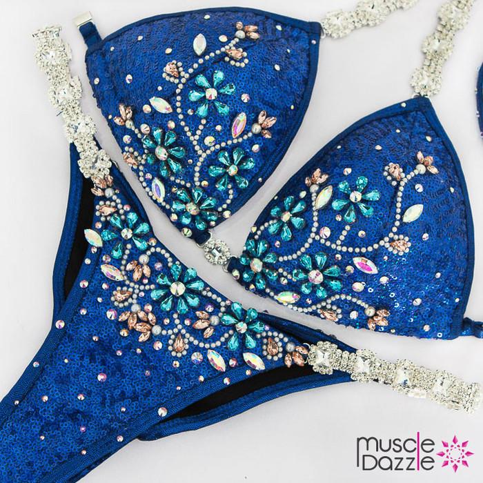 Royal blue sequin competition bikini
