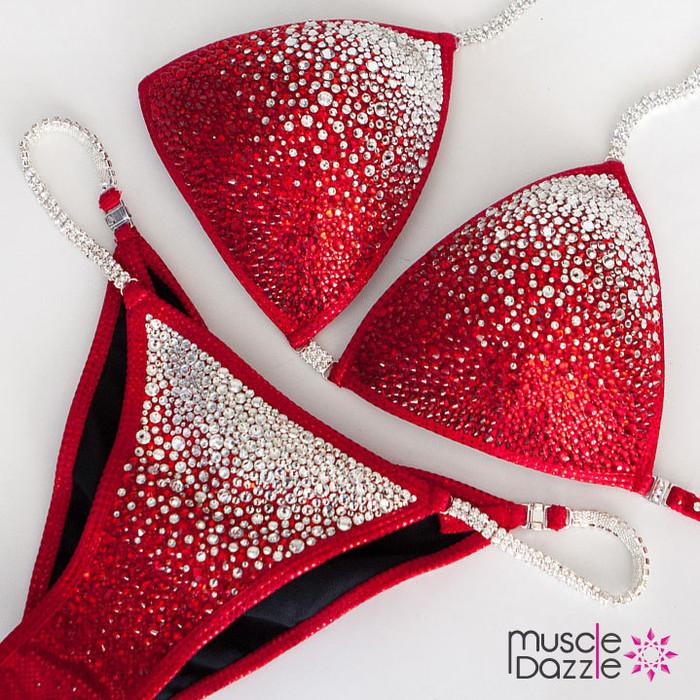 Red Ombre Swarovski Competition Bikini