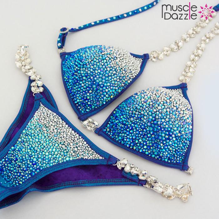 Blue Swarovski Competition Bikini