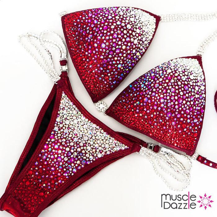Dark Red Swarovski Competition Bikini