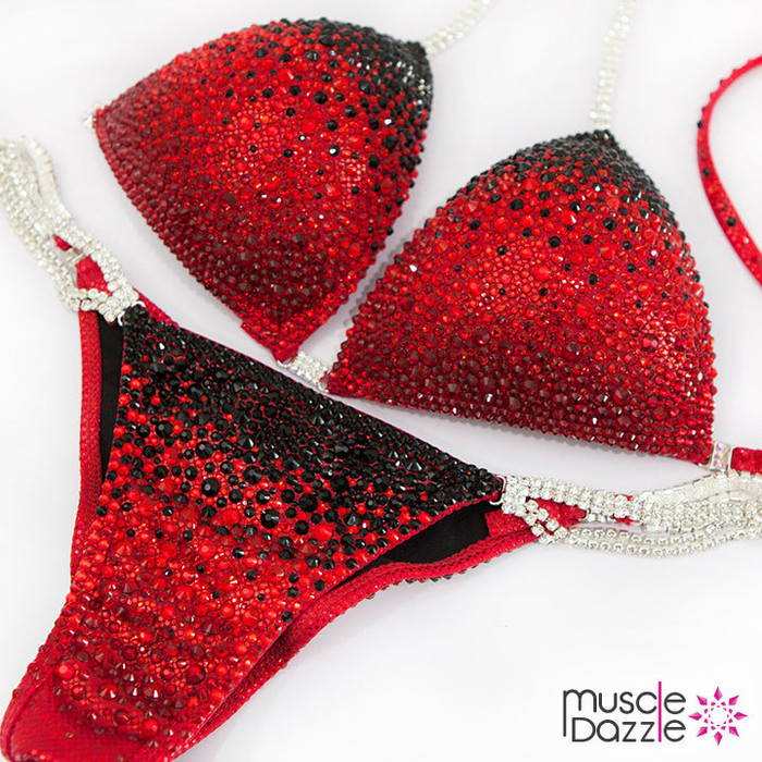 Black and Red Swarovski Competition Bikini