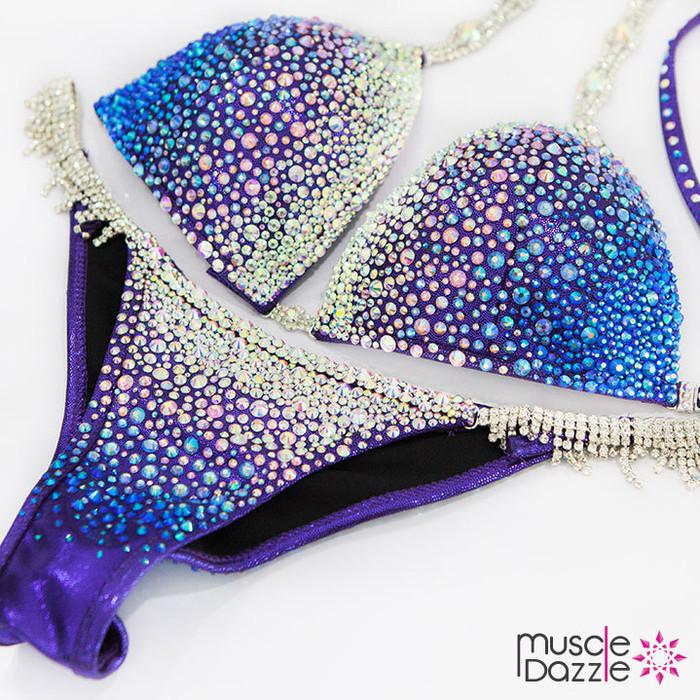 Blue/Purple Swarovski Competition Bikini