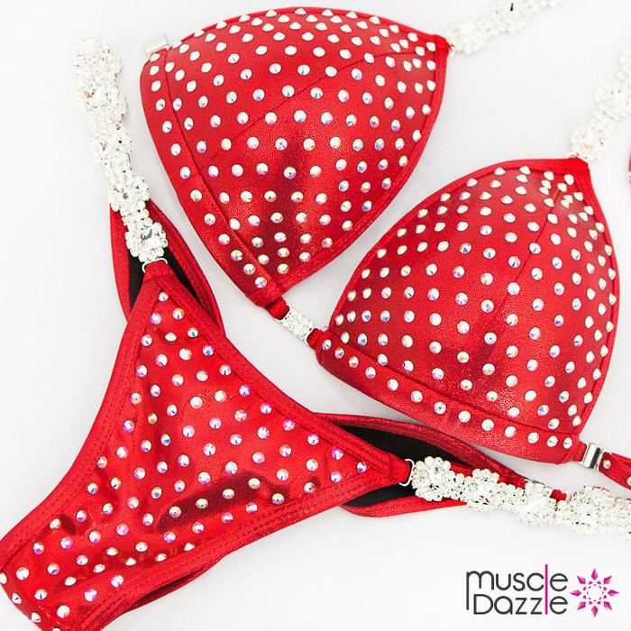 Red Swarovski Competition Bikini