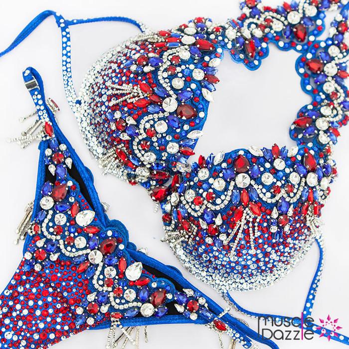 Red, White & Blue Bikini Diva Competition Suit