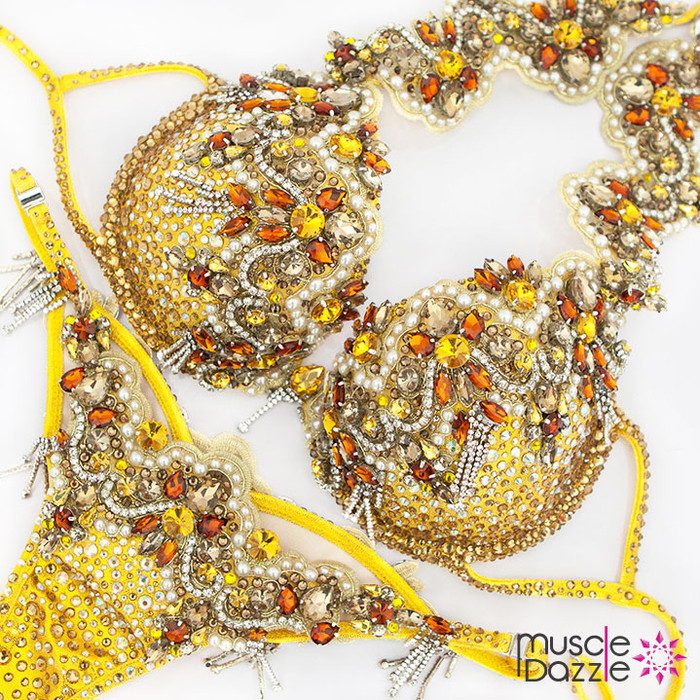 Yellow WBFF Diva Bikini Suit