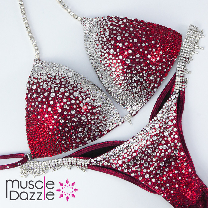 Ruby red ombre competition bikini