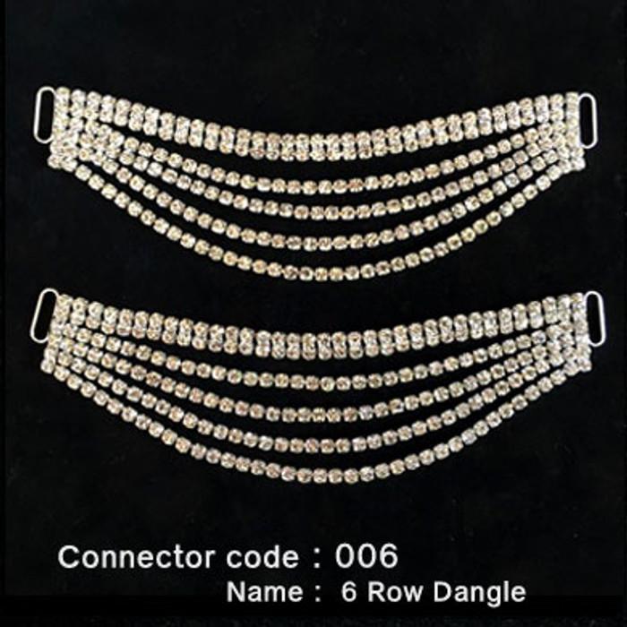 Set of 2 x Bikini Connectors -  6 Row Dangle Style (006)