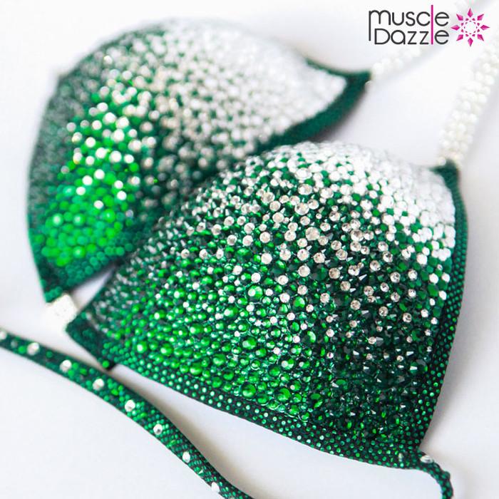 Dark Green Crystal Competition Bikini