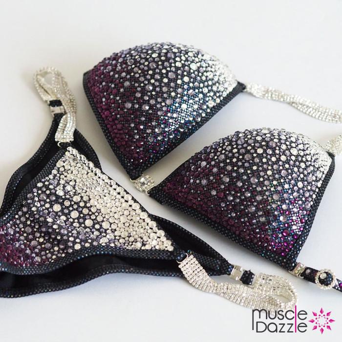 Black Purple Ombre Crystal Competition Bikini