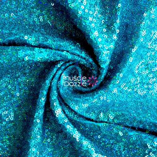 Aqua blue competition bikini sequin fabric