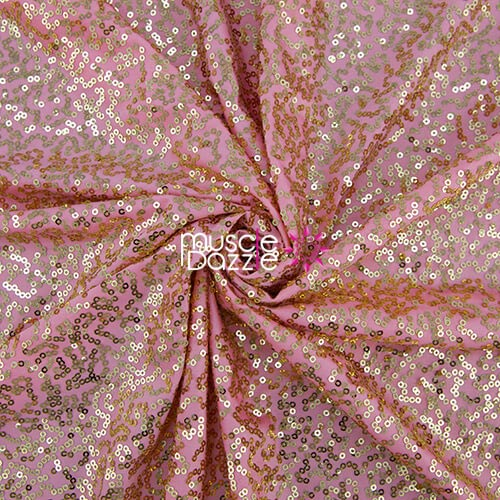 Peach competition bikini sequin fabric