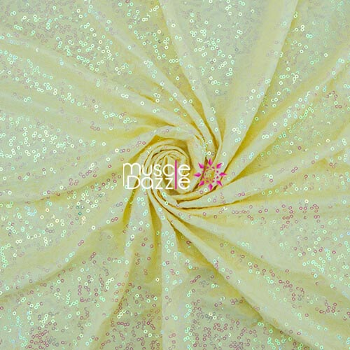 Light yellow competition bikini sequin fabric