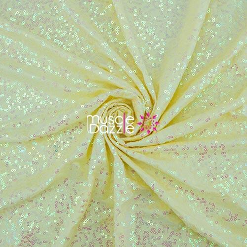 Light yellow competition bikini sequin fabric