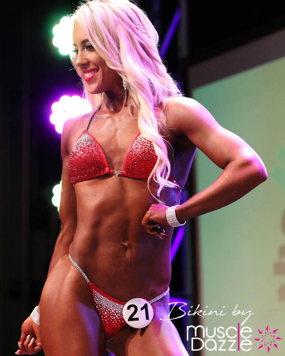 Red competition bikini