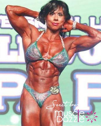 Green blue figure competition suit