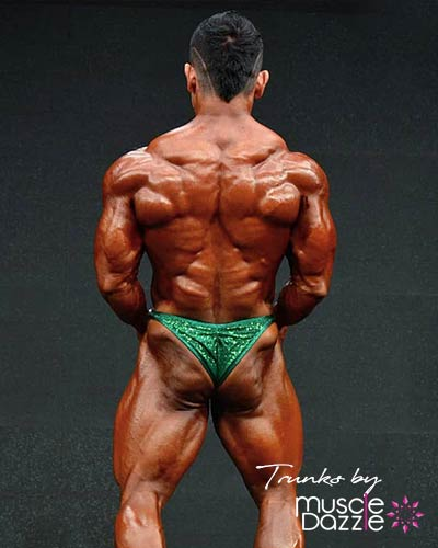 Green Sequin Green Bodybuilding Posing Trunks